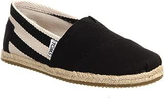 Classic University Black Stripe Mens Canvas Espadrilles Shoes Slipons