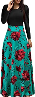 Womens Straight Boho Maxi Dress Ladies Holiday Long Sleeve Rose Print Dress