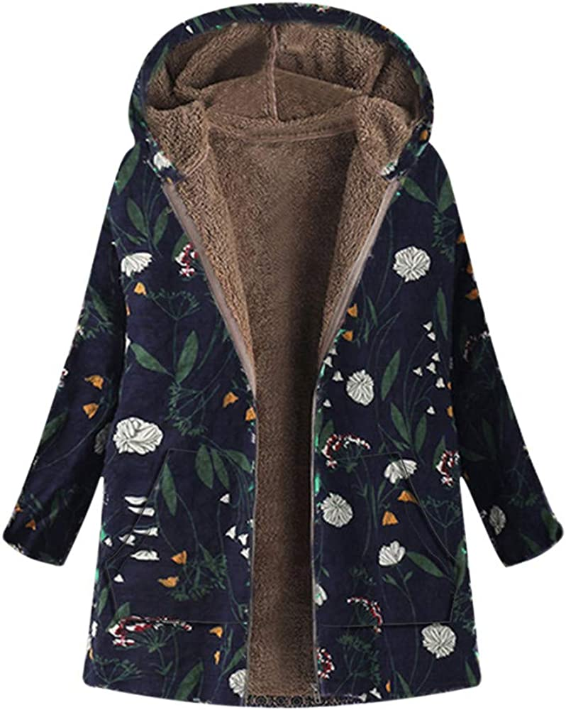 Forthery Women Coats Winter Clearance Hooded Warm Thick Outwear Jacket with Faux Fur