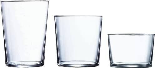 Luminarc Gorbea Set de 18 Vasos de Vidrio, (6 Sidra, 6 Pinta, 6 chiquito), Sodo, 53 cl + 36cl + 23cl