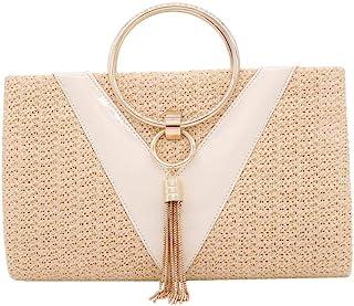 Straw Crossbody Handbag Evening Bag Clutch Purses for Women, Elegant Summer Beach Tote Tassels Straw Clutch