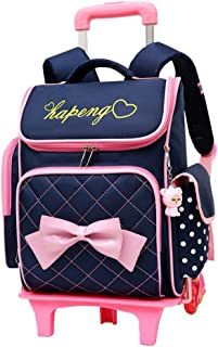 Adanina Cute Print Bowknot Trolley Backpack Elementary Middle School  Rolling Bag Wheeled Waterproof BookBag with Little d485a24012771