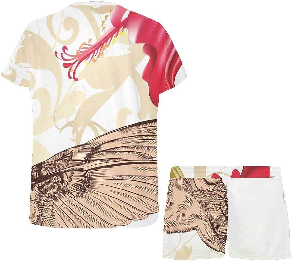 INTERESTPRINT Hummingbird and Flower Women's Lightweight Pajama Set, Short Summer Pjs