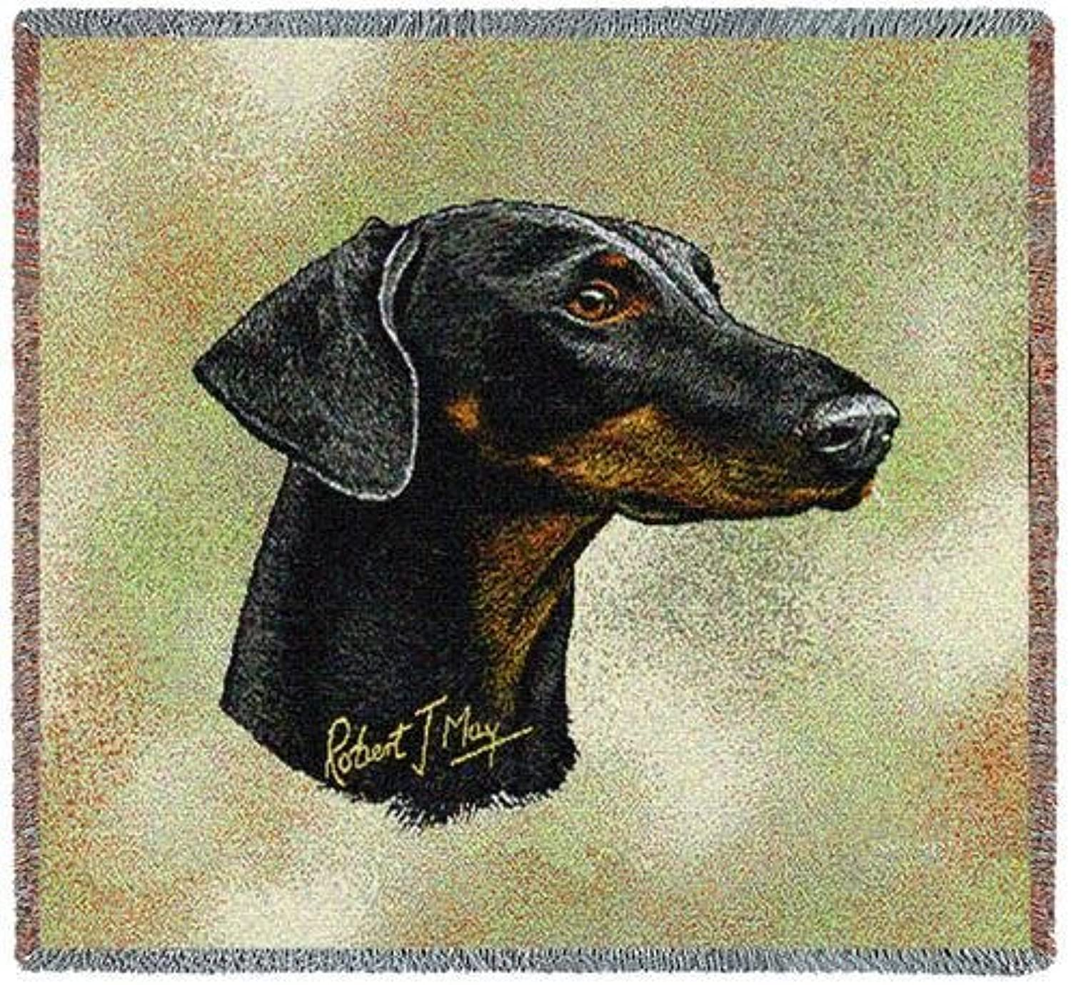 Pure Country 6368LS Doberman II Pet Blanket, Canine on Beige Background, 54 by 54Inch by Pure Country