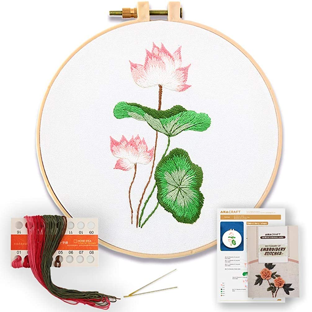 Akacraft DIY Embroidery Starter Kit, Cotton Fibric with Stamped Pattern, 6 inch Plastic Embroidery Hoop, Color Threads, and Needles, Chinese Traditional Flowers Series-Lotus