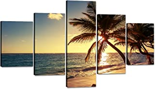 Beautiful Modern Ocean Paintings 5 Panels Prints Blue Sea Clouds Canvas Wall Art Painting for Living room Home Decor As Gifts stretched and Framed Ready to Hang for Bedroom Wall(70''W x 40''H)
