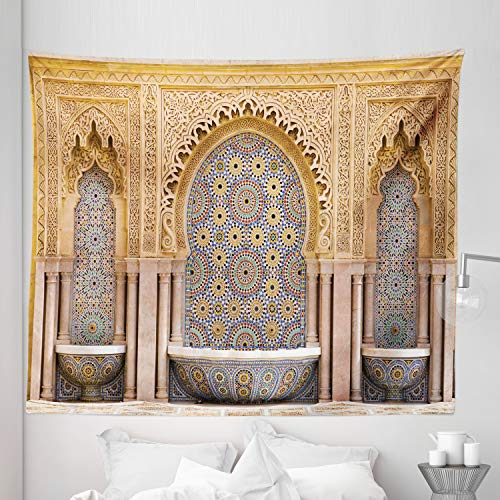 Ambesonne Moroccan Tapestry King Size, Typical Moroccan Tiled Fountain in The City of Rabat Near Hassan Tower, Wall Hanging Bedspread Bed Cover Wall Decor, 104' X 88', Brown Apricot