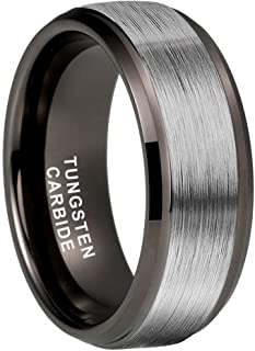 Sponsored Ad - iTungsten 4mm 6mm 8mm Silver/Black/18K Gold/Rose Gold/Gunmetal Tungsten Rings for Men Women Wedding Bands S...