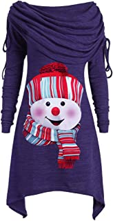Christmas Women Foldover Bow Collar Ruched Snowman Print Long Pullover Tunic Top Sweatshirt Hooded Pullover Coat
