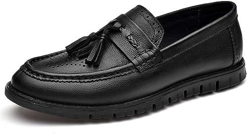 Yajie-chaussures, Chaussures Formelles Formelles Oxford en Cuir à Bout Rond en Cuir décontracté Hommes (Couleur   Noir, Taille   39 EU)