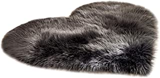 Vacally Heart-Shaped Solid Color Rugs Wool Imitation Sheepskin Faux Fur Non Slip Bedroom Kitchen Doorway Entrance Shaggy Carpet Soft Absorbent Mats