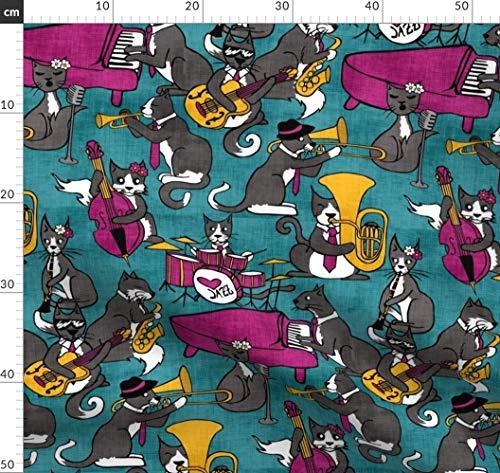 Jazz, Musik, Geschichte Des Jazz, Klavier, Trompete, Tuba, Saxophon Stoffe - Individuell Bedruckt von Spoonflower - Design von Pond Ripple Gedruckt auf Bio Baumwollsatin