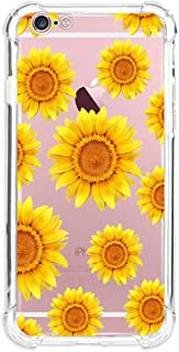 MIXK Clear Case for iPhone 6 iPhone 6S with Sunflower Pattern Cute Protective Slim Case for Girls Women Floral Silicone Transparent Bumper Cover