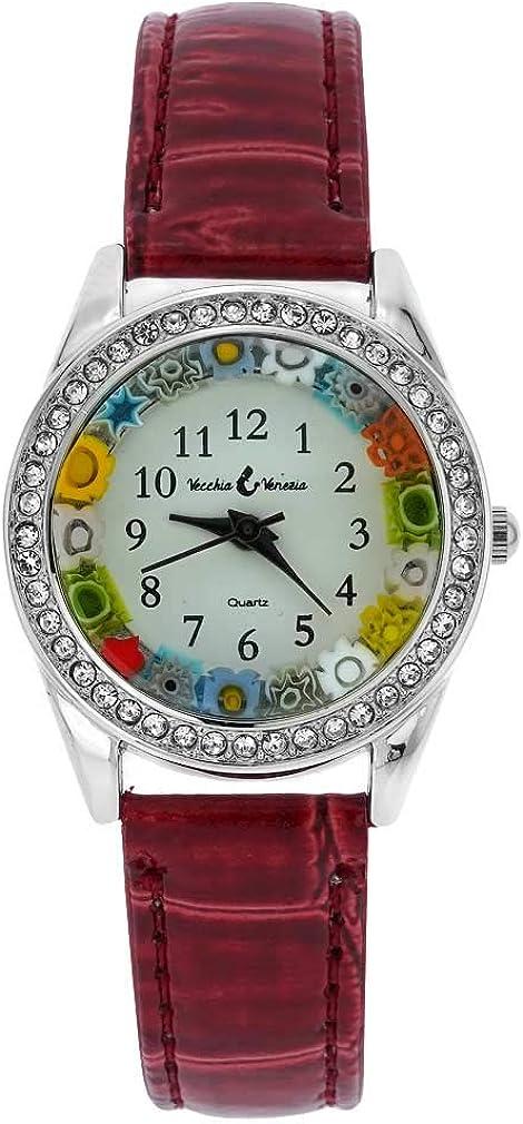 GlassOfVenice Reloj de cristal de Murano Millefiori y cristales con correa de piel, color rojo