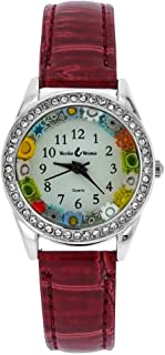 Murano Glass Watch Millefiori and Crystals with Leather Band - Red