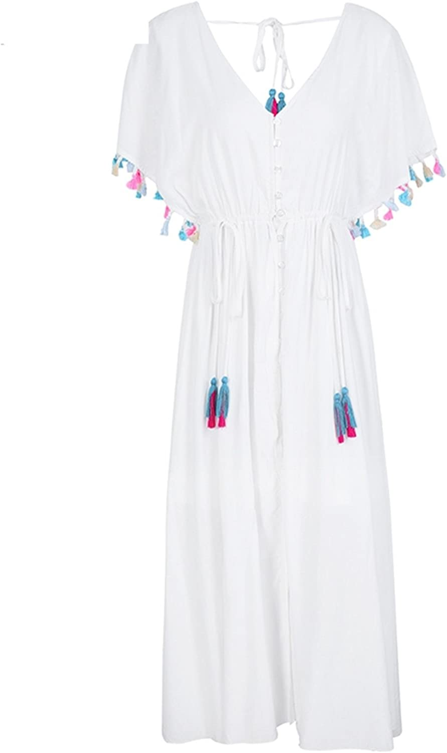 Glugerge Backless v Neck Summer Dress Women Lace up Tassel Maxi Dress Casual 2018 Spring White Long Dress Female