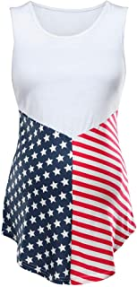 Aurorax T-Shirt 4th of July Womens Pregnant Maternity Sleeveless Blouse Ladies Summer American Flag Loose Vest
