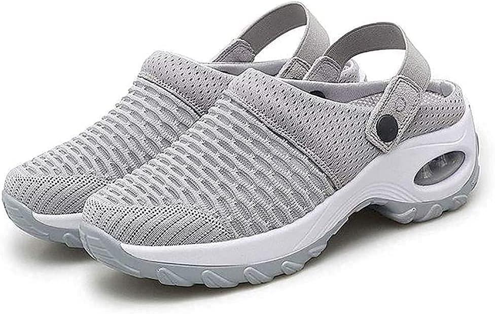 Zapatos Para Caminar Sin Cordones Con Cojín De Aire De Color Sólido Para Mujer Sandalias Ortopédicas Caminar Diabéticos Malla Zapatillas Deporte Transpirables Con Soporte Arco Ortopédico Oculto