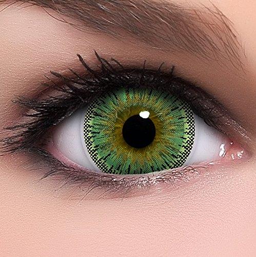 Circle Lenses grüne Dolly Green ohne Stärke + Behälter I 15mm I weich I 3 Monate anwendbar