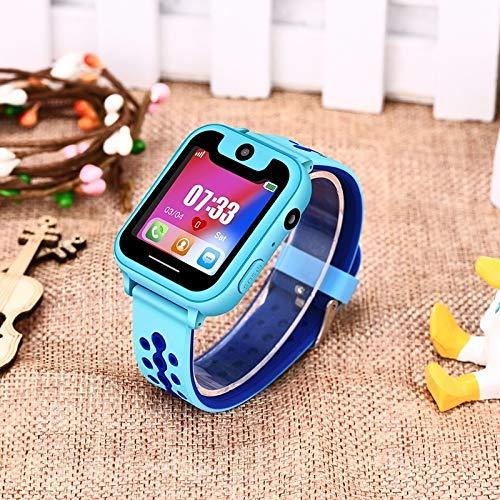Caja de Reloj LJR Y82 IP67 Reloj Inteligente Anti perdido a Prueba de Agua para niños, Soporte SOS Llamada Ubicación/Finder Locator Tracker/Dual Cámara (Azul) (Color : Azul)