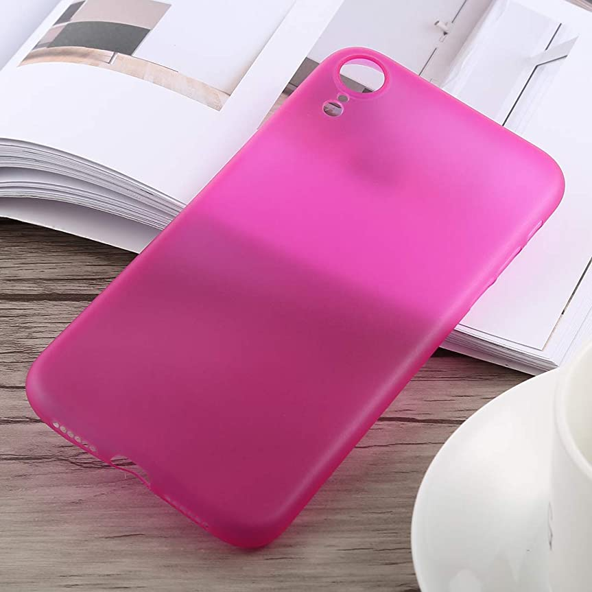 無声で周術期風邪をひくIPhone XR用超薄型の曇ったPPケース (Color : Rose Red)
