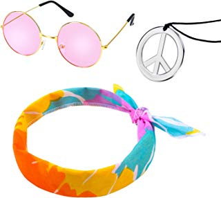 Elcoho Hippie Costume Set 60's Costumes Sunglasses Peace Sign Necklace Headband