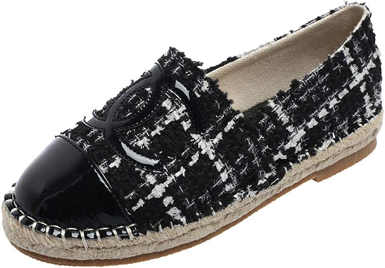 PongYi Women Flats Simple Casual Handmade Round Toe Simple Slip-on Hemp Lady Loafers