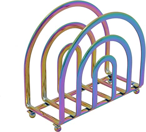 Amazon Com Rainbow Deluxe Steel Napkin Holder Weighted And Self Standing Kitchen Dining