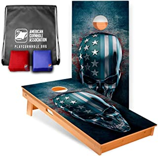 USA Skull Cornhole Boards (8 Corn Filled Bags Included)   Official Cornhole Board Game Set of The American Cornhole Association   The ACA is The Oldest Governing Body in The Sport of Cornhole (2003)