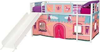 DHP Junior Silver Metal Loft Bed with White Slide and Princess Castle Curtain Set, Kids Furniture, Twin Size