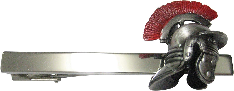 Kiola Designs Red Plumed Roman War Helmet Square Tie Clip