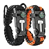 Atomic Bear Paracord Bracelet (2 Pack) – Adjustable Size – Fire Starter – Loud...