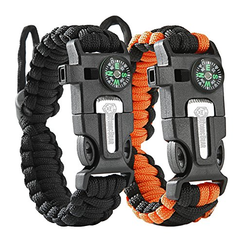 Atomic Bear Paracord Bracelet (2 Pack) - Adjustable - Fire Starter - Loud Whistle - Perfect for Hiking, Camping, Fishing and Hunting - Black & Black+Orange