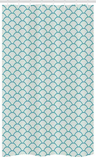 ABAKUHAUS strand Douchegordijn, Smal gestreepte cirkel, voor Douchecabine Stoffen Badkamer Decoratie Set met Ophangringen, 120 x 180 cm, Sky Blue White