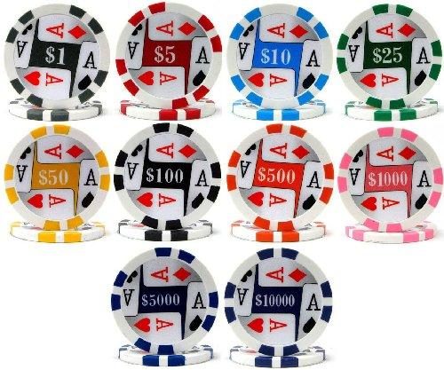 Lowest Price! Four (4) Aces Premium 500 Bulk Poker Chips - Choose
