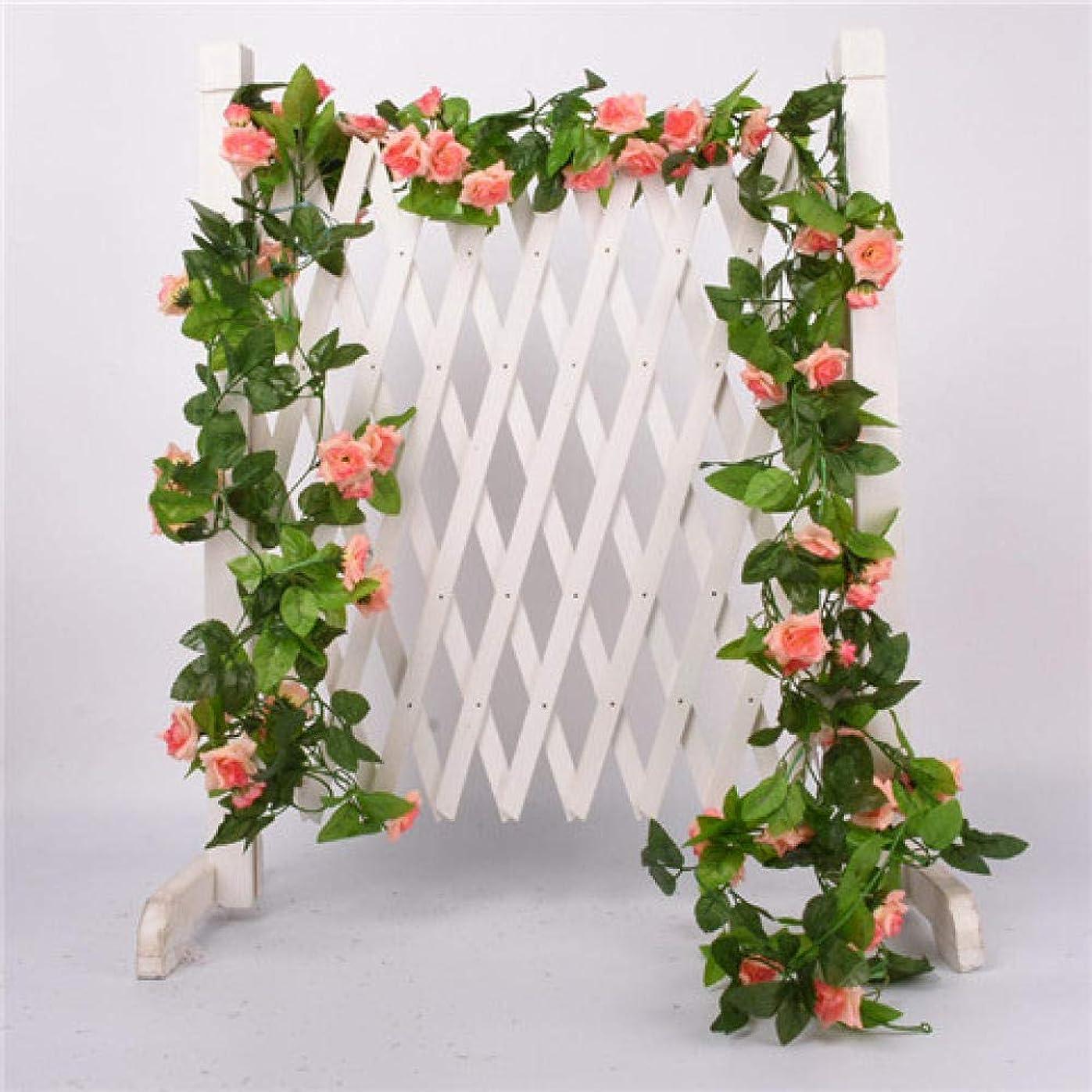 変色する監督する敬なYuanyuxi人工バラつる党装飾的な植物風景装飾偽花籐壁掛け手作り花つる@ 33小さなバラピンク