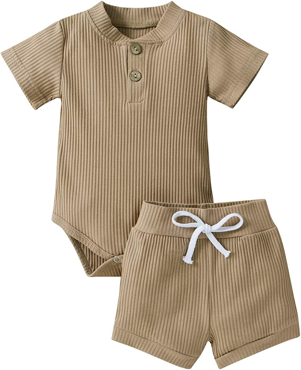 Newborn Baby Boy Girl Ribbed Shorts Outfits Cotton Solid ColorShort Sleeve Romper Bodysuit Summer Casual Shorts Clothing Set
