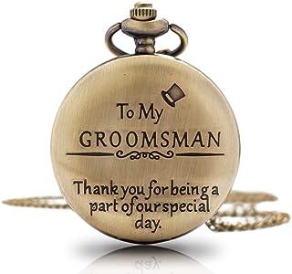 1x Groomsman Gifts for Wedding Best Man Pocket Watch  Engraved Best Man Pocket Watch with Chain  Gift for Best Man Mens' Watch