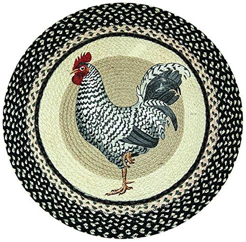 "Earth Rugs RP-430 Rooster Printed Rug, 27"", Black/Ivory/Crème"