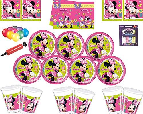 Ensemble de décoration de fête Disney Minnie Mouse - Assiettes Tasses Nappe de Table avec Ballons gratuits