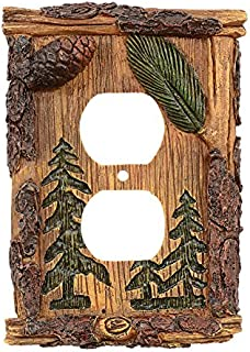 Black Forest Décor Rustic Cabin Decor Pinecone & Pine Tree Outlet Cover