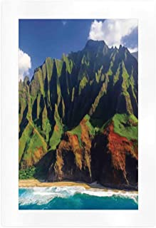 YOLIYANA Hawaiian Decorations Beautiful Art Print,Aerial View of Na Pali Coast Kauai Hawaii Mountain Cliff Seacoast Scenic Photo for Home,7