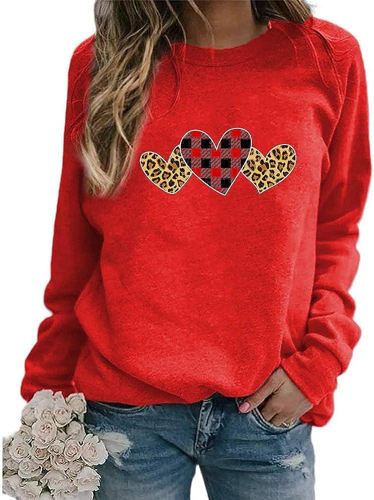 Women Valentines Day Sweatshirt Buffalo Plaid Love Heart Printed Pullover Casual Long Sleeve Tunic Top S-XXL