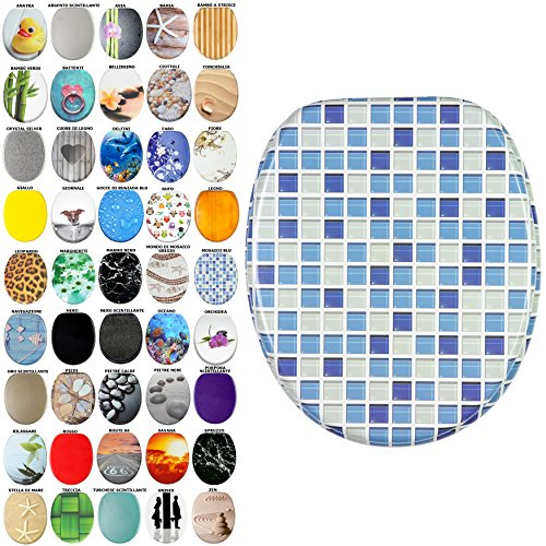 Sedile WC, grande scelta di belli sedili WC da legno robusto e di alta qualità (Mosaico blu)