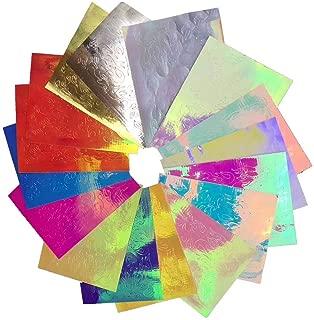 Valuu 16PCS Fire Flame Nail Stickers Laser Magic Color Flame Nail Decals Adhesive Foils DIY Nail Art Decoration