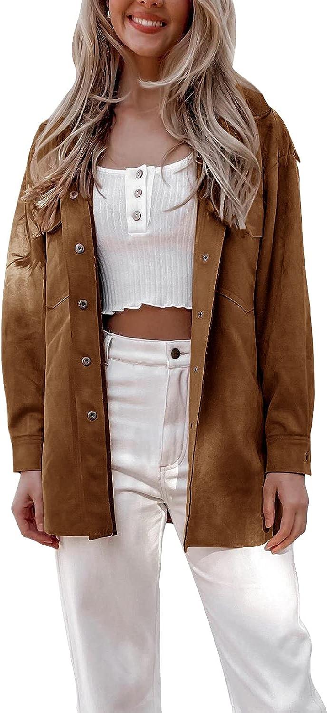 Coololi Womens Casual Faux Suede Jacket Women Long Sleeve Oversize Button Up Shirt Coat