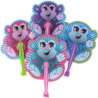 Kicko 10 Inch Folding Monkey Paper Fan - 12 Pieces of Accordion Style Assortment - Perfect for Halloween, Festival, Birthday, Novelties, Party Favor and Supply