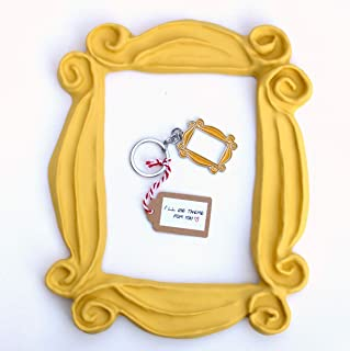 Handmade with Love by Fatima. Yellow Frame and a cute Keychain. Frame peephole door. This is a handmade replica. Great present for your friends.