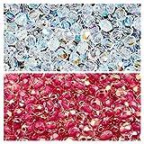 Cuentas checas facetadas de vidrio, Fire-Polished, redondas de 4mm. Dos colores: Crystal AB, Crystal AB Pink Lined. Total de 400 uds. (1/3 Mass). Set 4SFP212 (4FP002 4FP087)