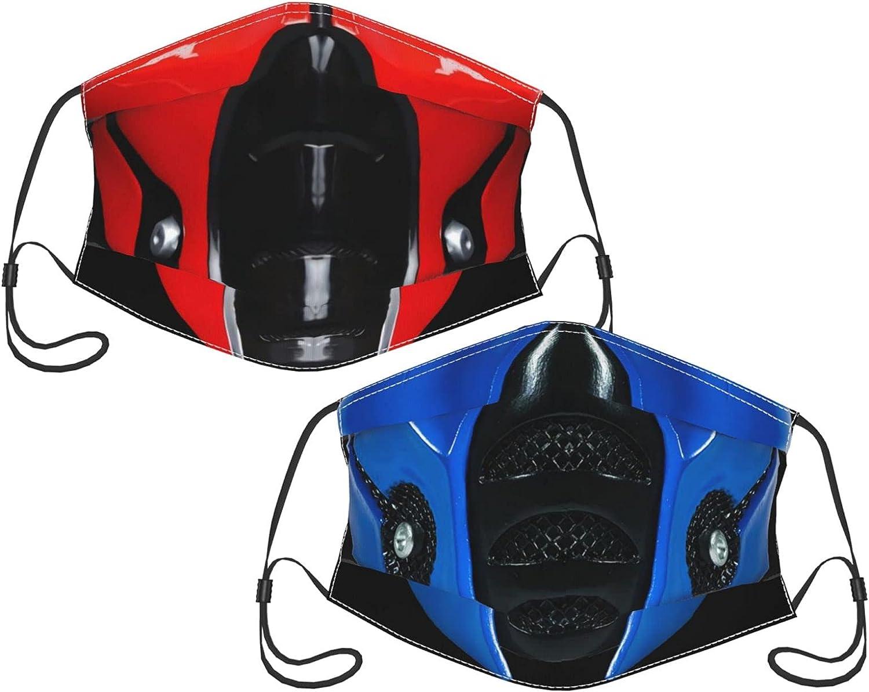 2PCS Mortal Kombat Face Mask Men Women's Washable Face Mask with Adjustable Earloops Balaclava Face Cover